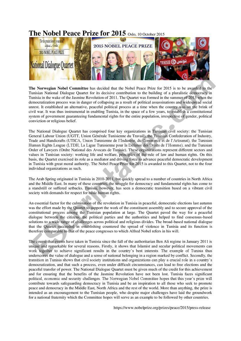 Nobel Prize Tunisia 2015 worksheet