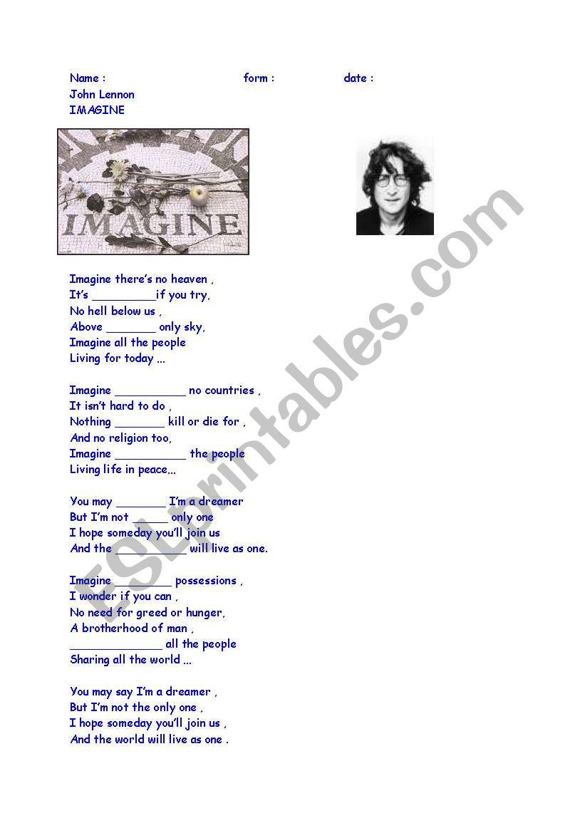 english worksheets  lyrics imagine john lennon