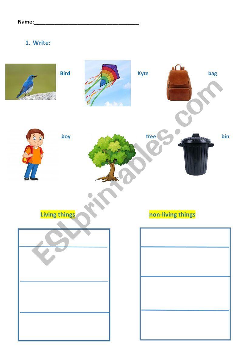 living-non living things worksheet