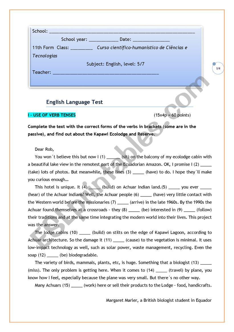 Grammar test  11th form worksheet