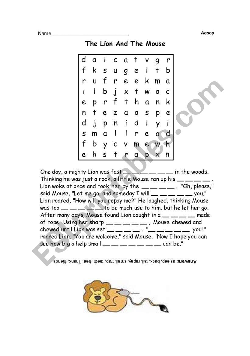 Worksheets  English worksheets: The Lion and the Mous