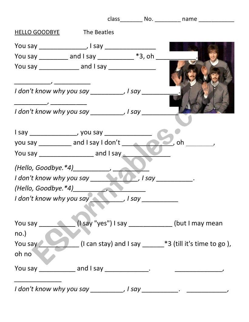 Hello Goodbye by Beatles worksheet