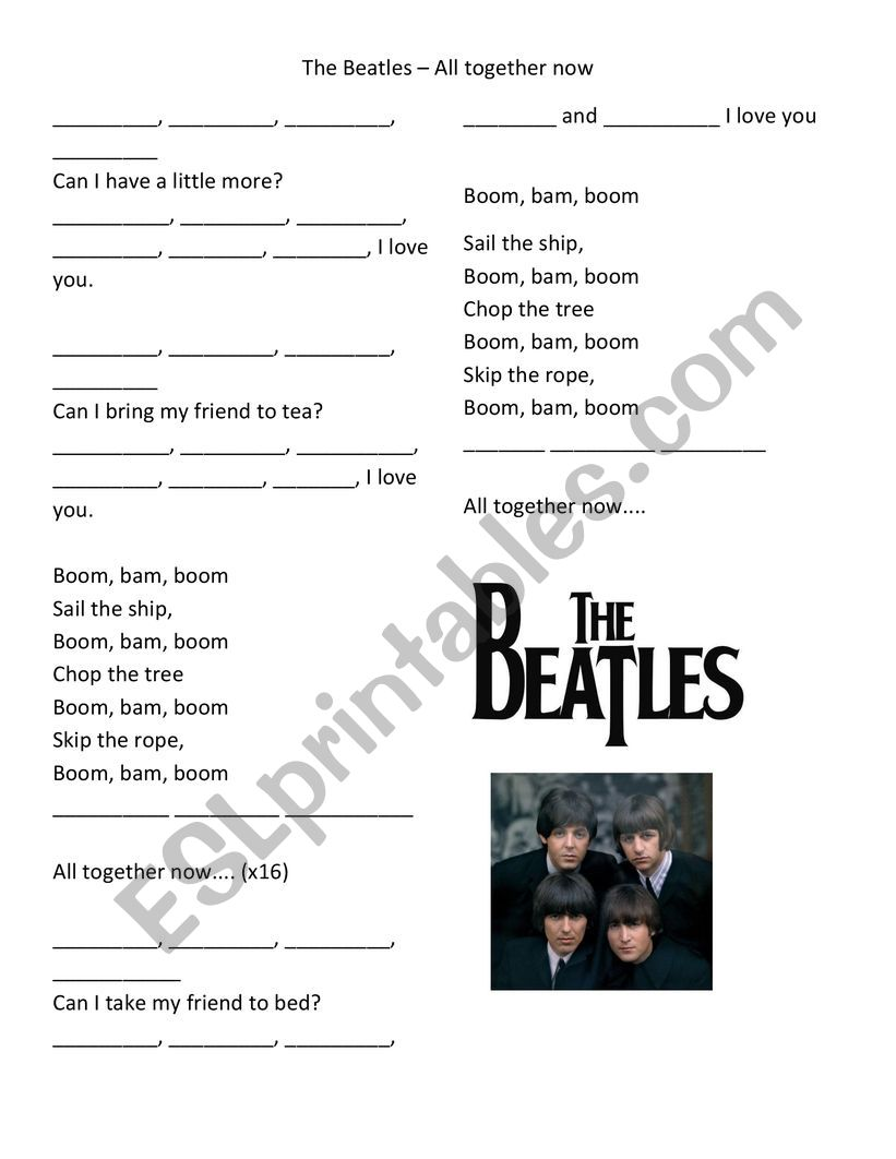All Together Now by Beatles worksheet