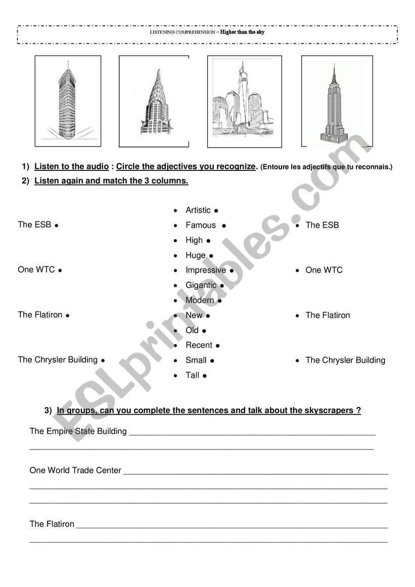 Introduction to NYC skyscrapers - Comparisons - audio available