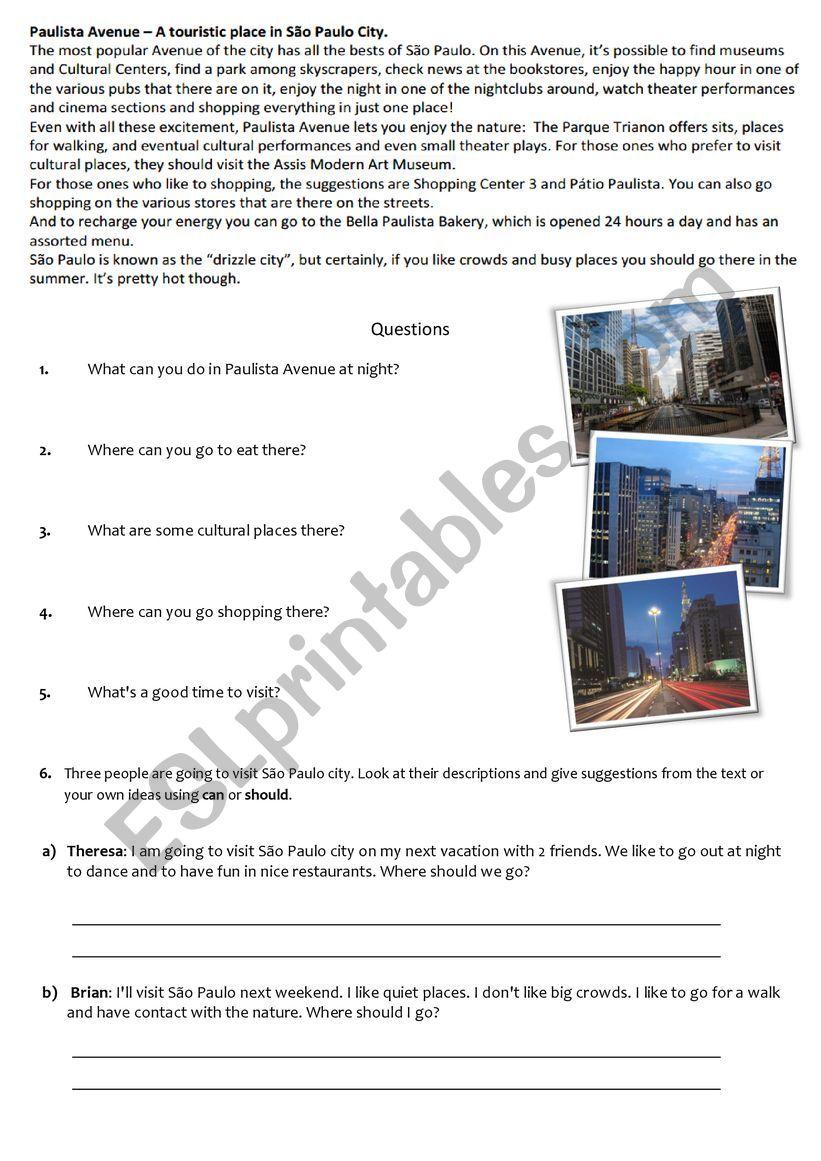 Paulista Avenue worksheet