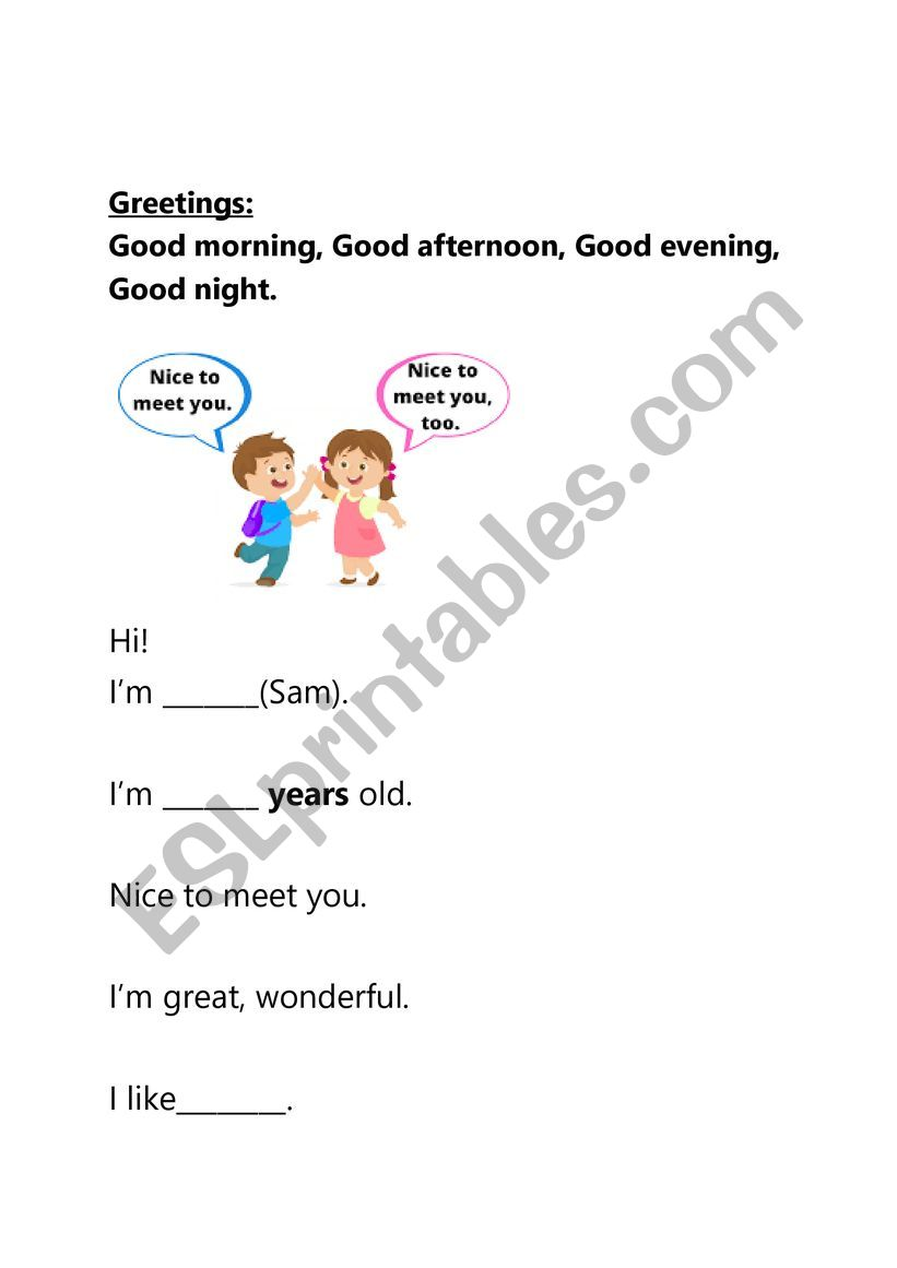 beginner introduce yourself worksheet