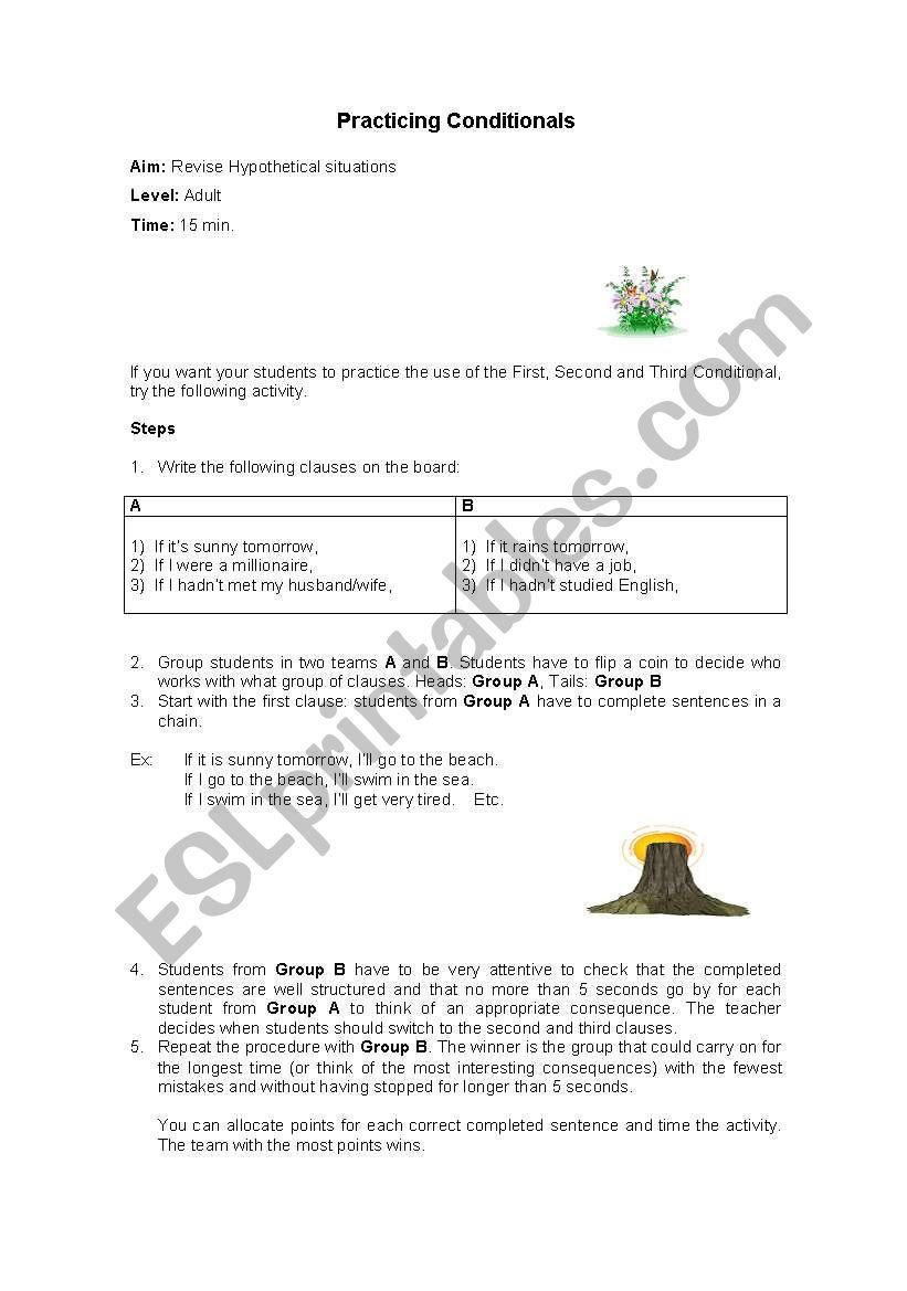 Practicing Conditionals Adult worksheet