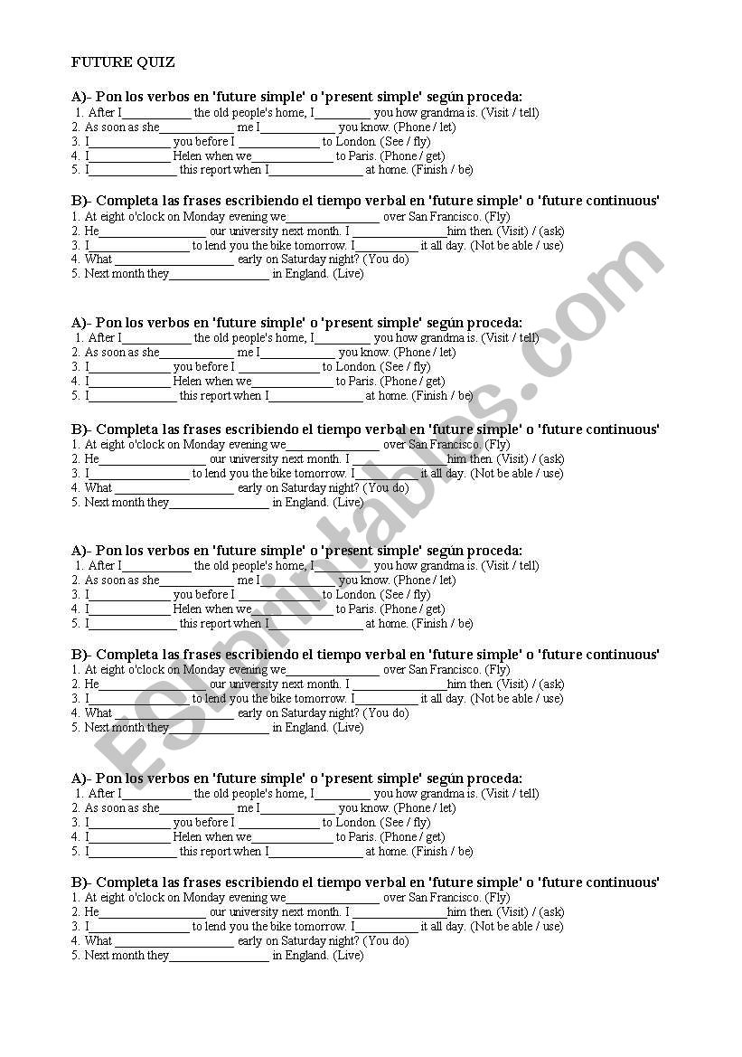 WILL AND WON´T FUTURE QUIZ worksheet