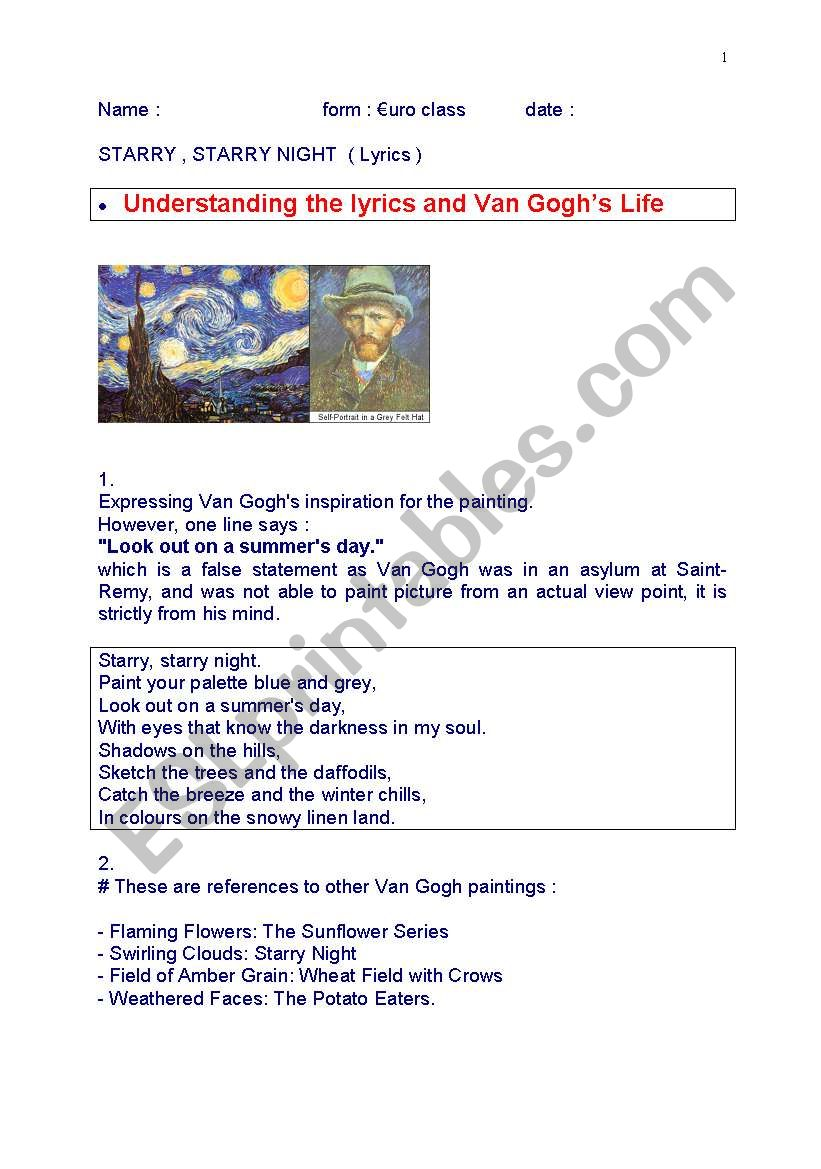 2ebc65facf7 reading skill Song Starry Night by Don McLean - ESL worksheet by Véro33