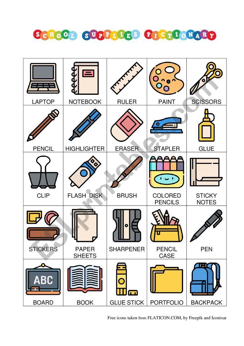School Supplies Pictionary worksheet