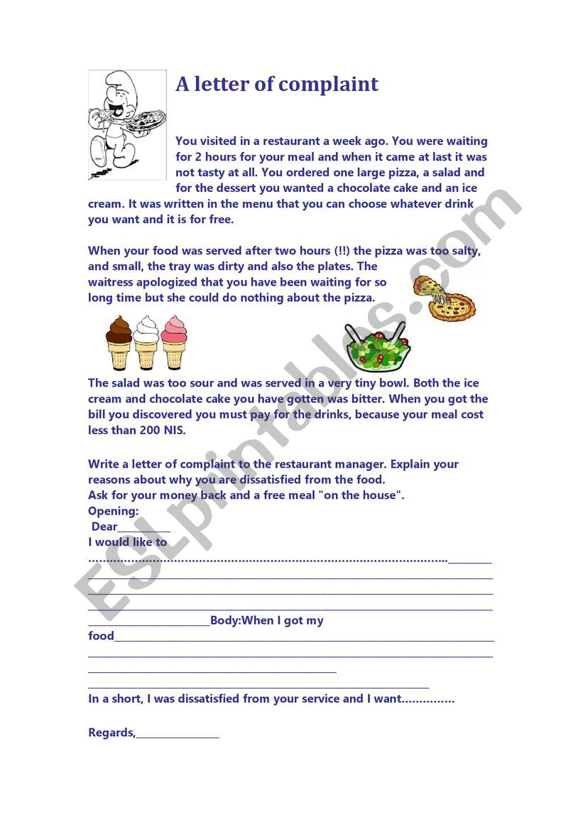 A letter of complaint worksheet