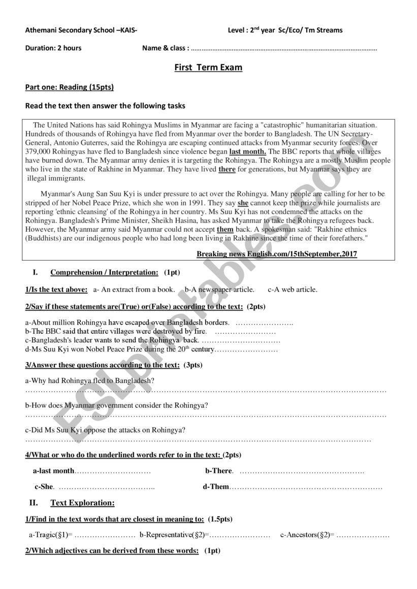 1st term exam make peace worksheet