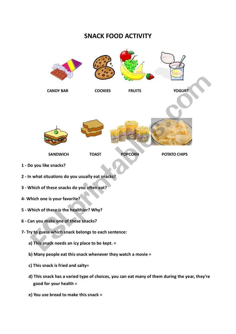 Snack Conversation worksheet