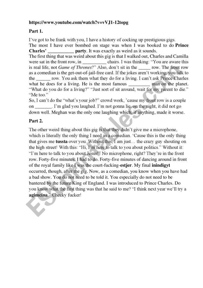 Jack Whitehall Bombed Prince Charles�s b-day worksheet