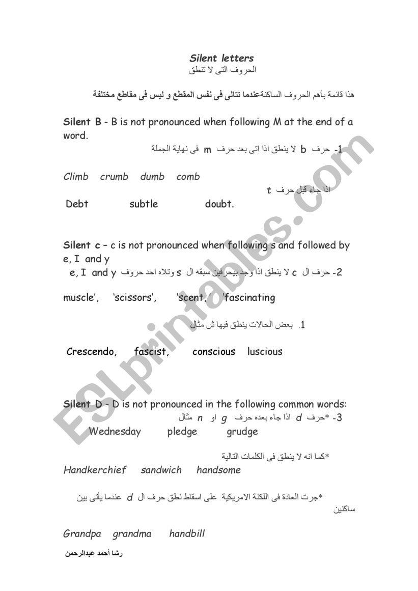 silent letter  worksheet