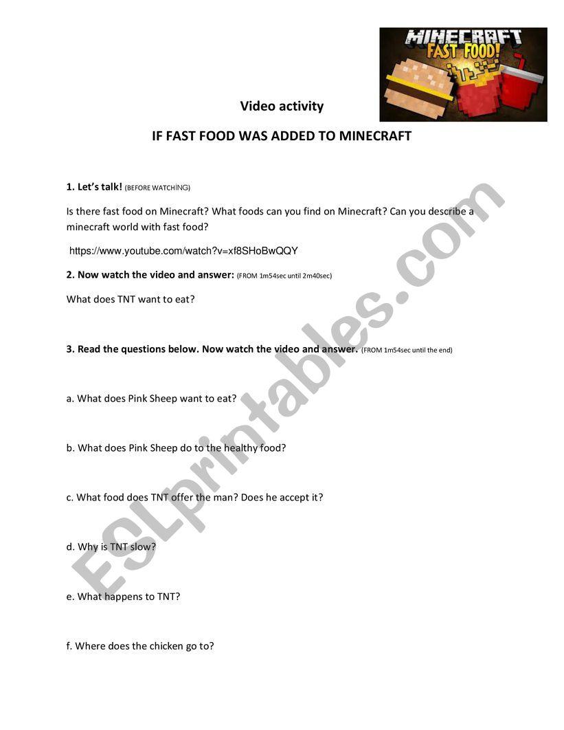 Minecraft  worksheet