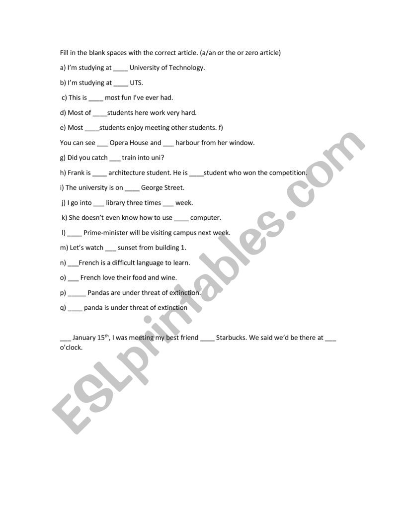 Preposition test worksheet