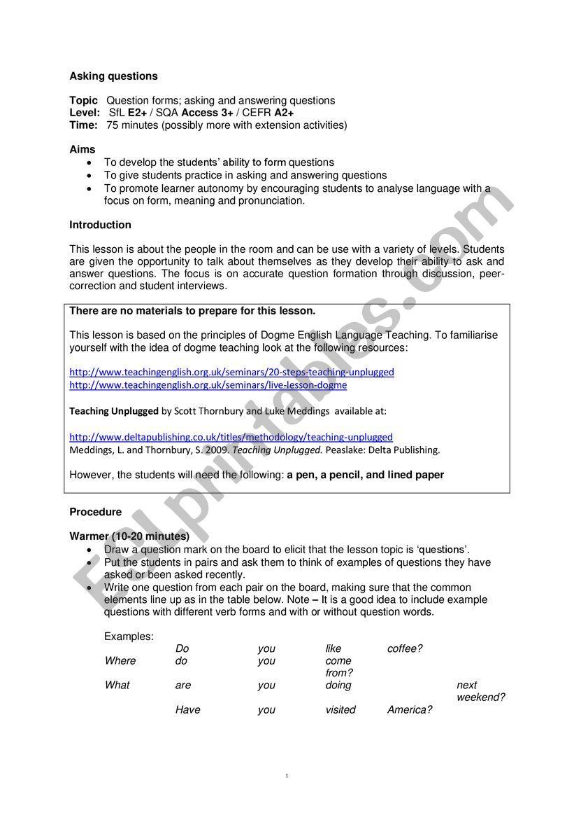 Aking question worksheet