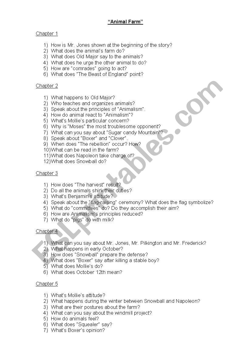 English Worksheets Questionnaire Animal Farm