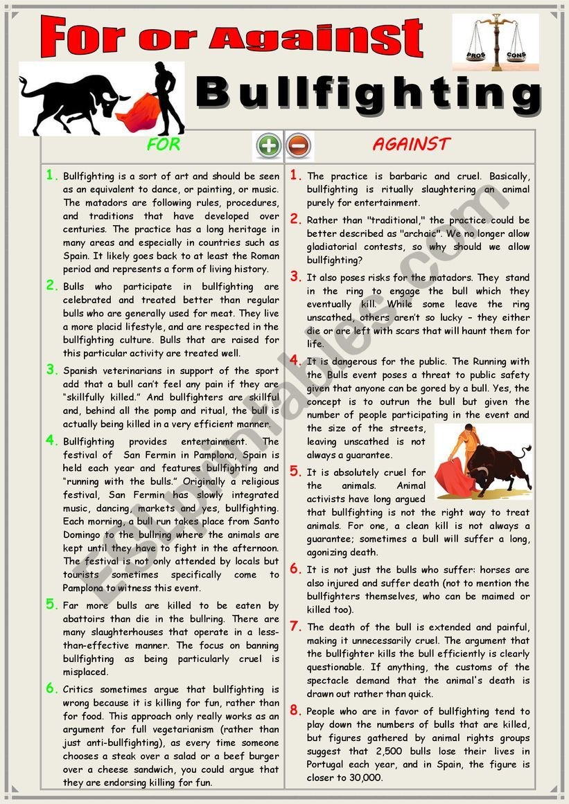 For or against bullfighting? (Debating)