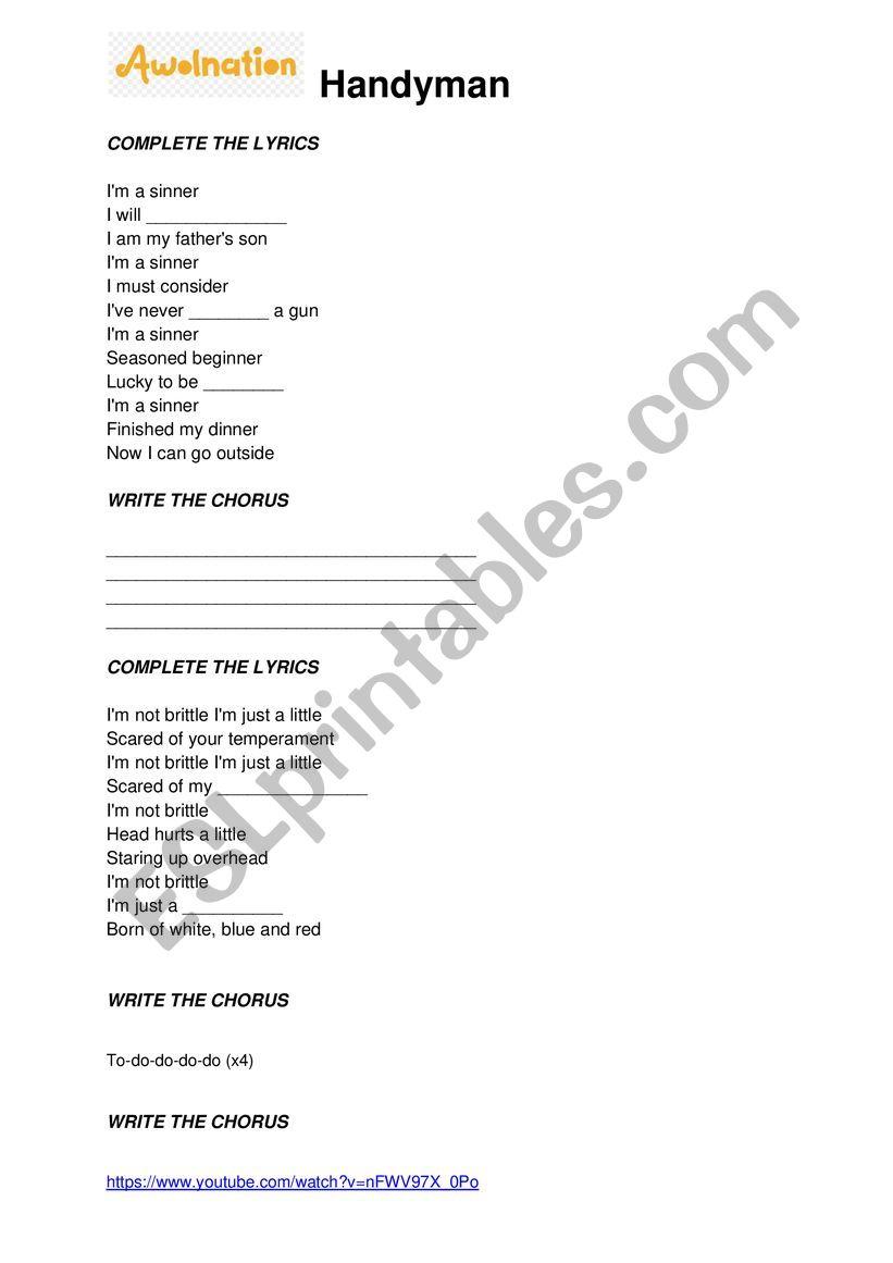 Awolnation - Handyman (song activity)