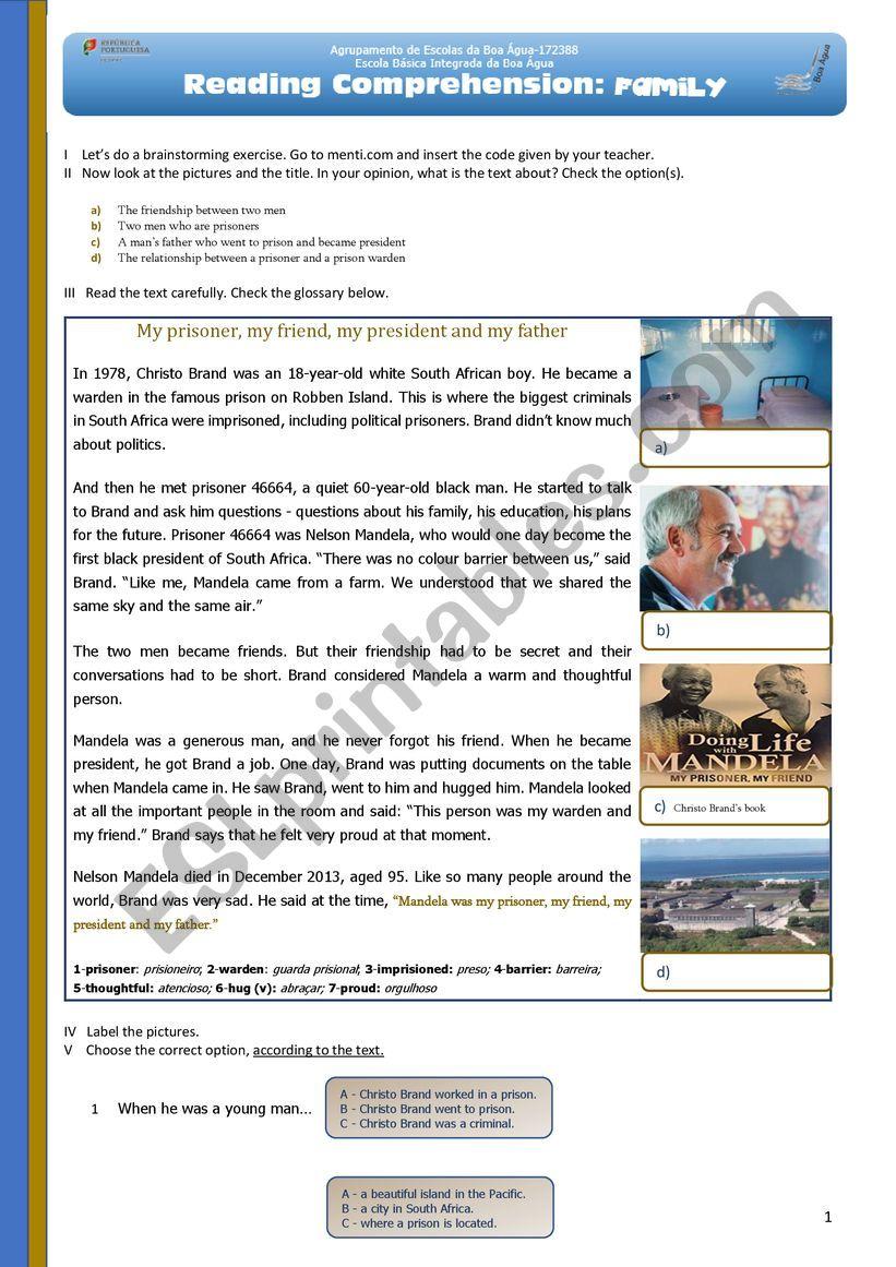 Reading comprehension: Nelson Mandela