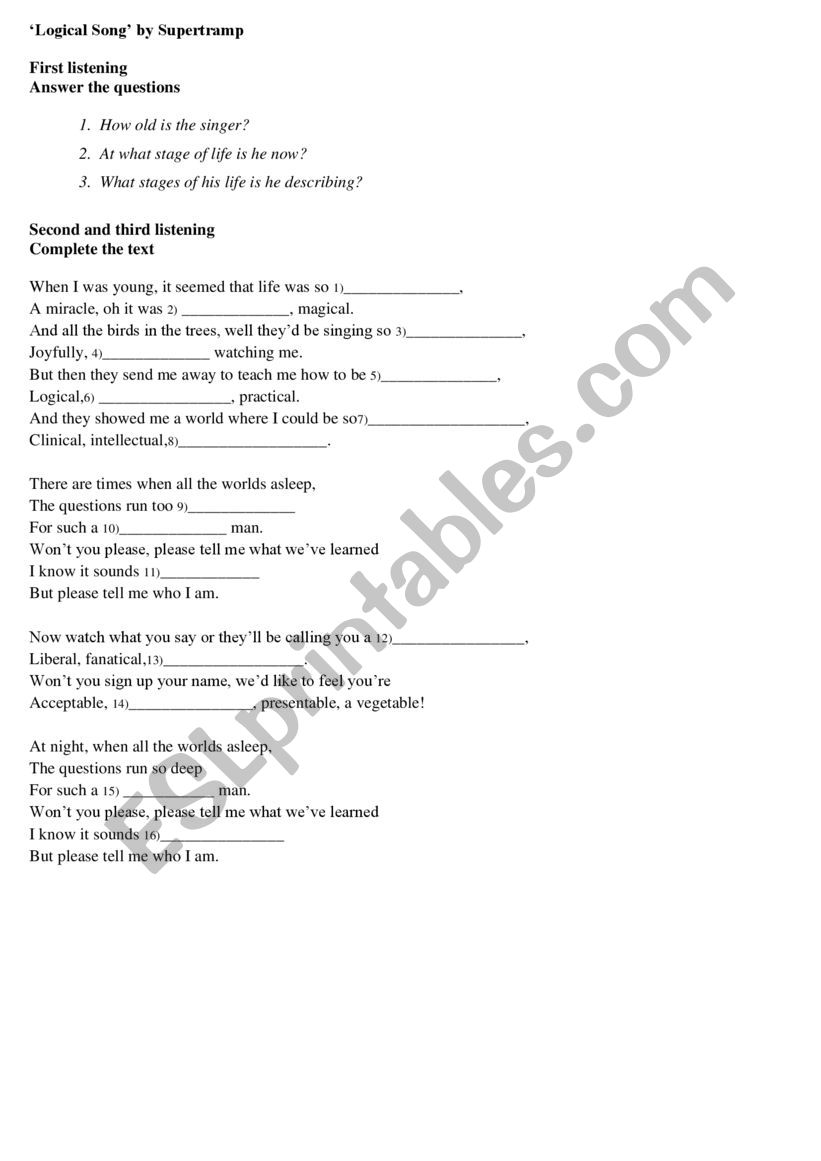 logical Song by Supertrump worksheet