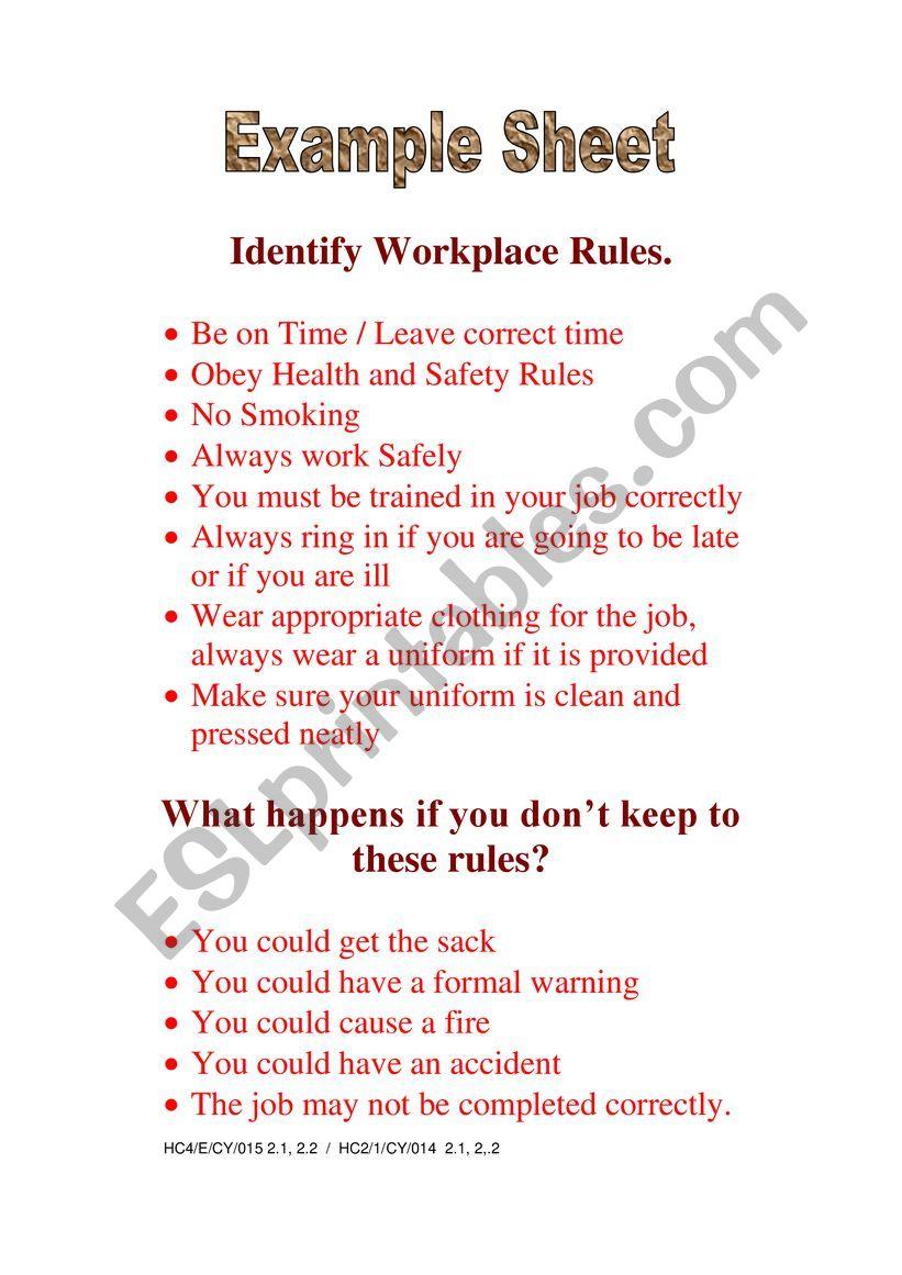Workplace Rules worksheet