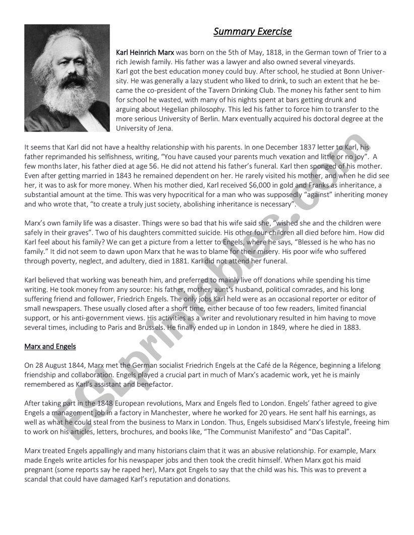 English Summary Exercise worksheet