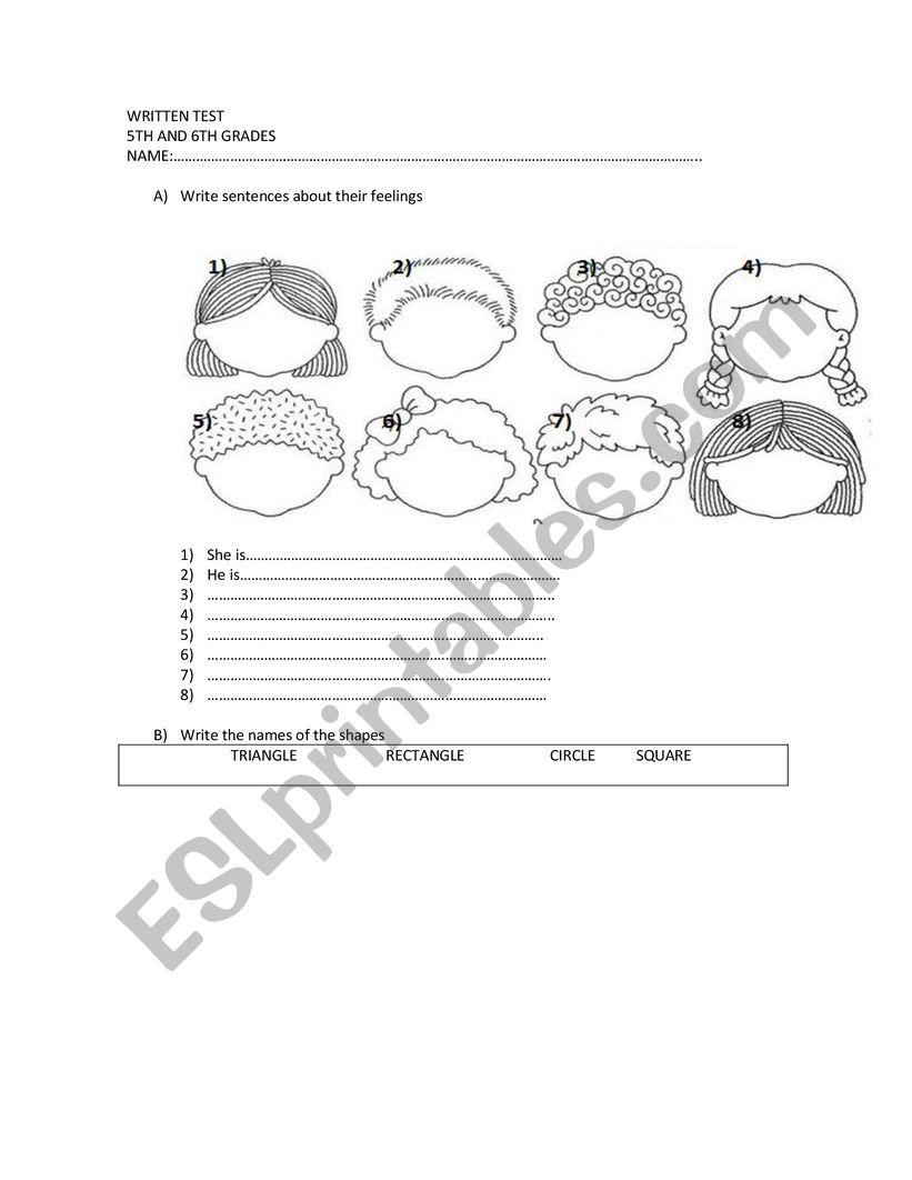 revision shapes worksheet