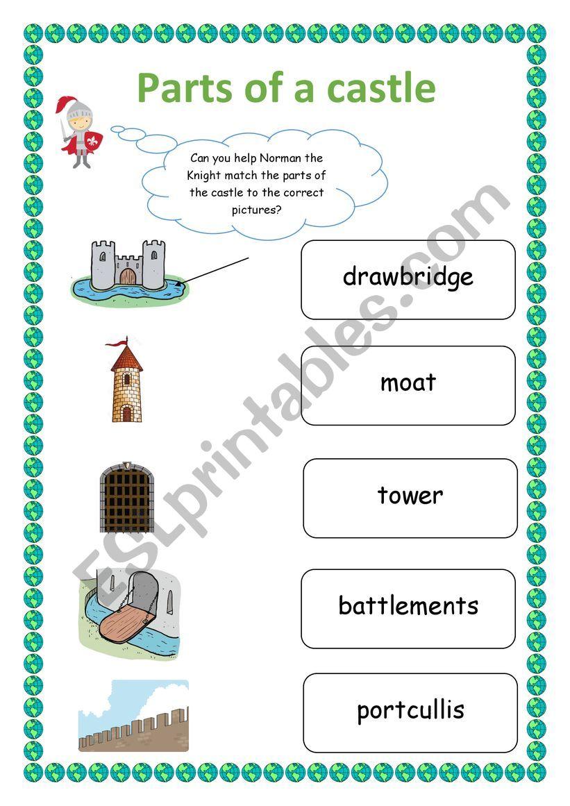 Parts of a castle worksheet