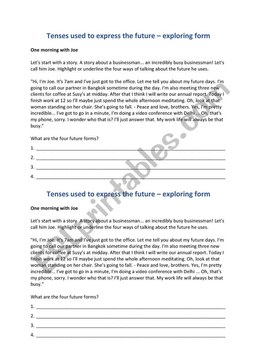 Tenses used in the future  worksheet