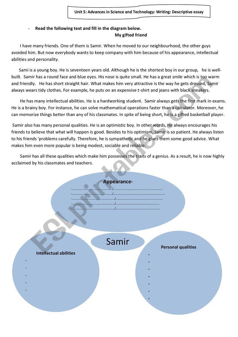 A descriptive essay  worksheet