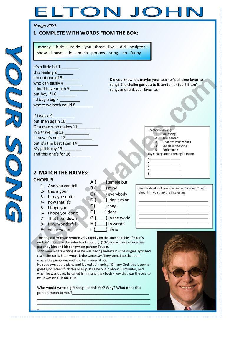 Your Song - Elton John worksheet