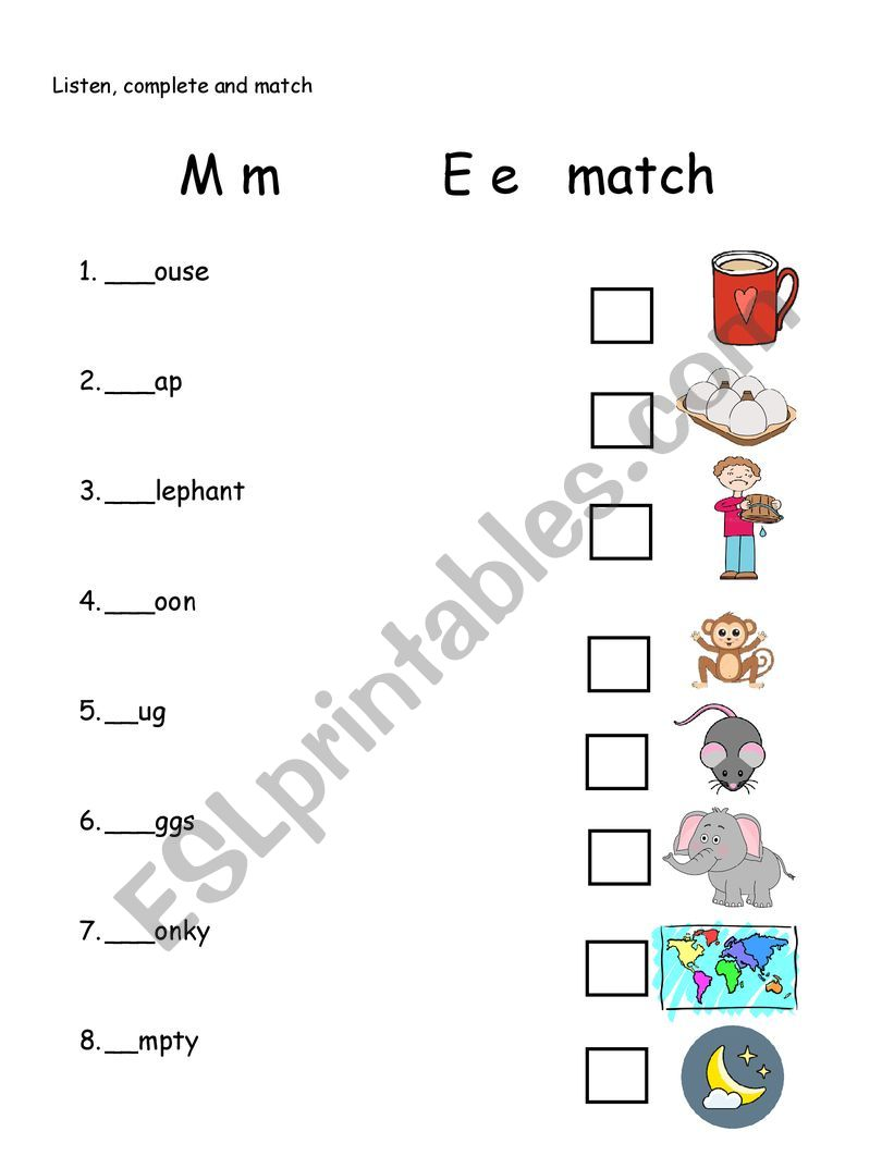 lketter m and e worksheet