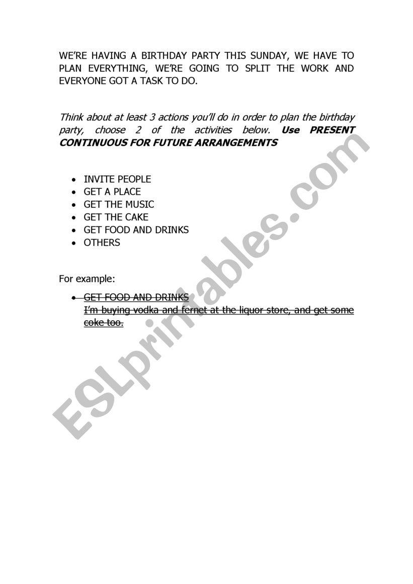 PARTY FUTURE ARRANGEMENT worksheet