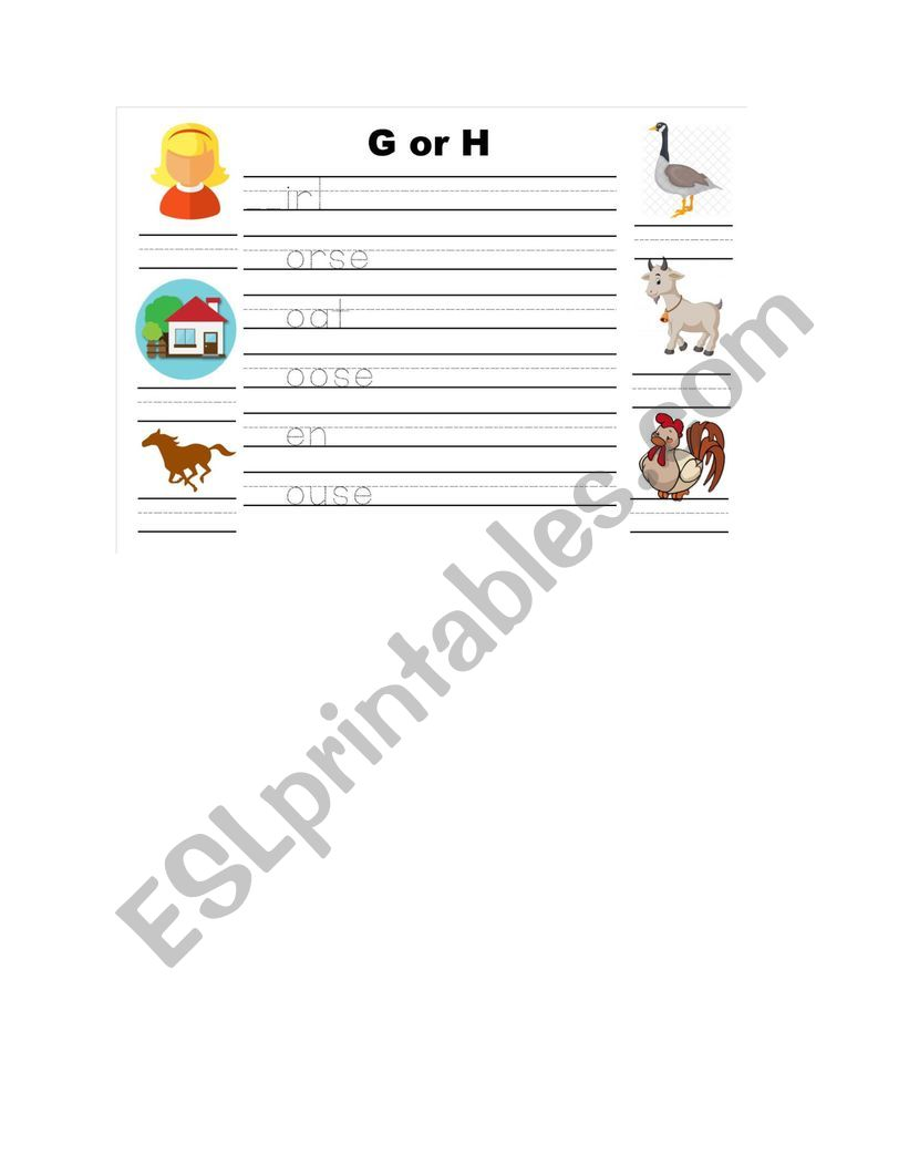 Letters g and h tracing and vocabulary matching