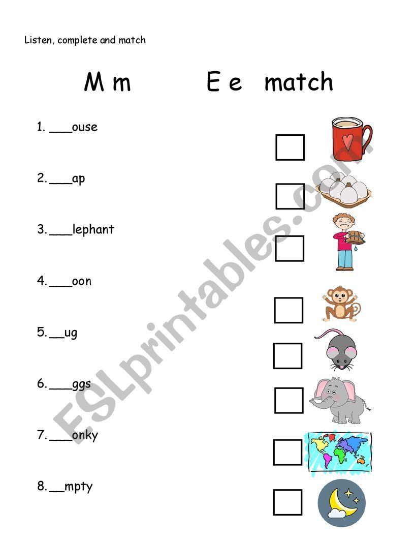 letter M and E worksheet