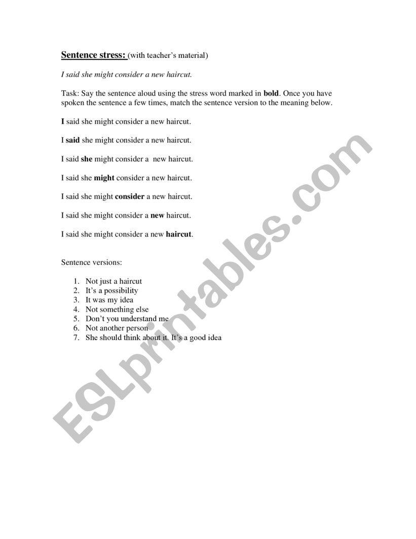 Sentence stress game worksheet