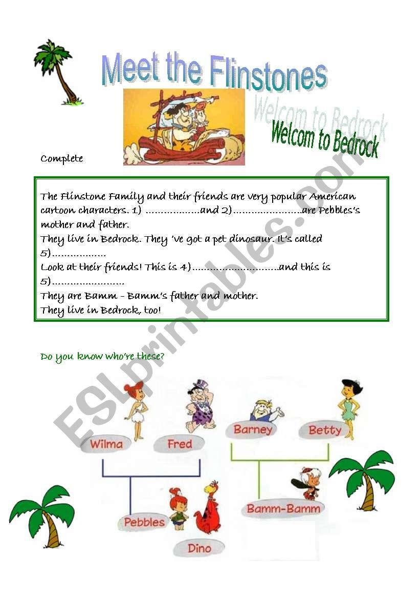 Meet The Flinstone Family  worksheet