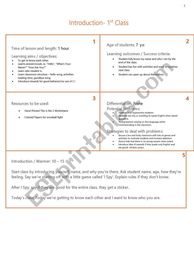 ESL First Class1st Grade Lesson Plan