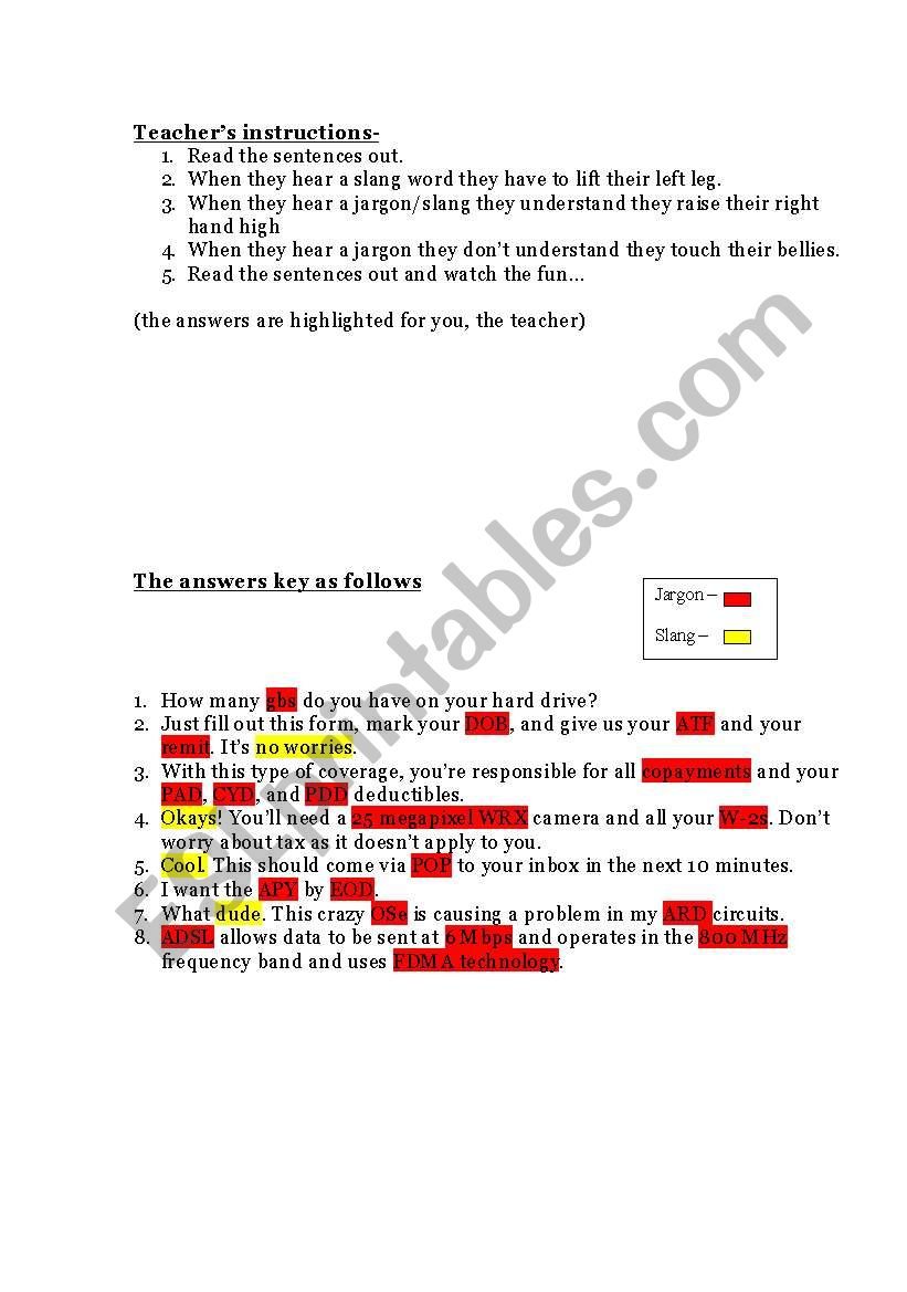 American Slang Esl Worksheet By Savina Noronha