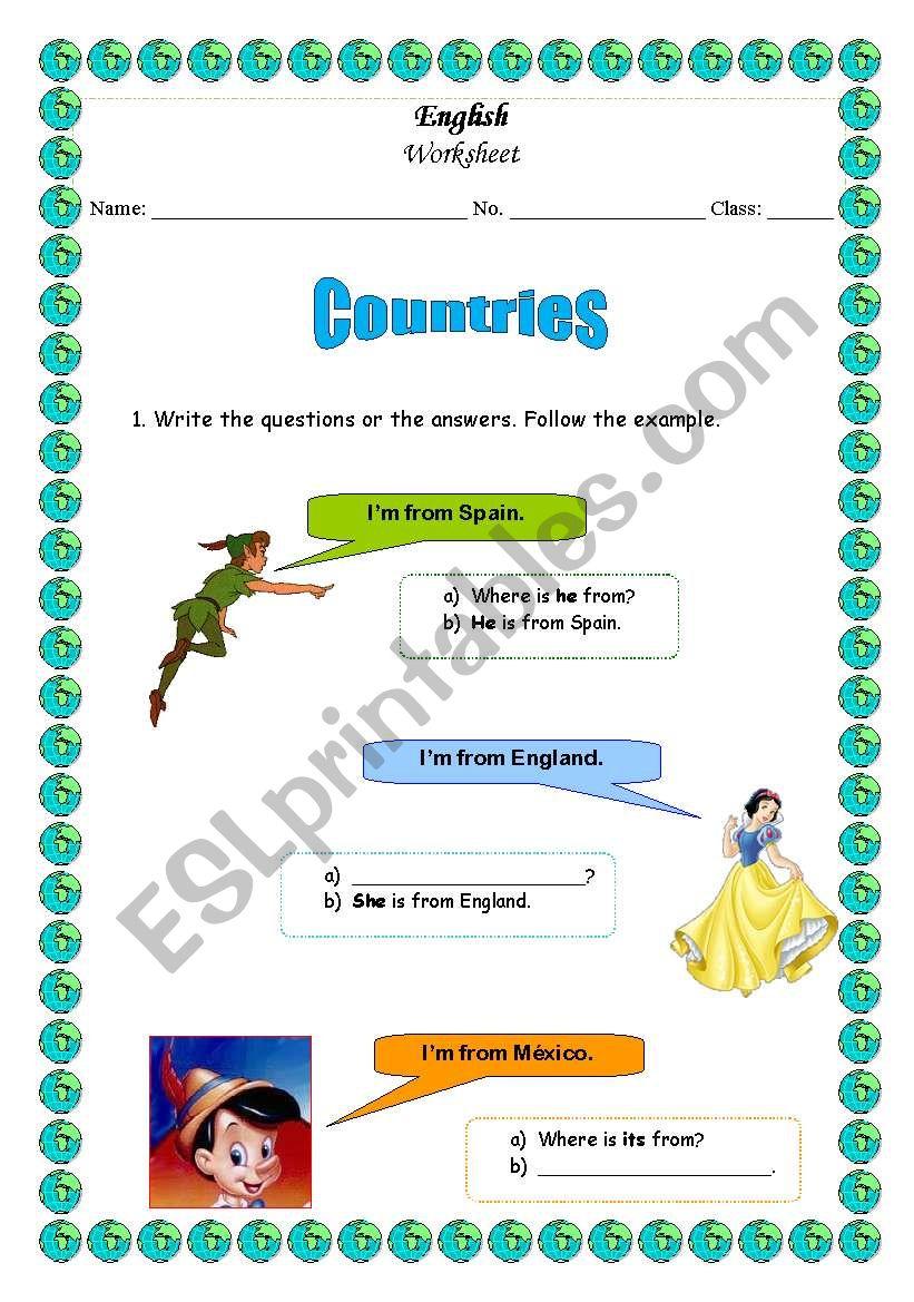 Countries worksheet part 1 worksheet