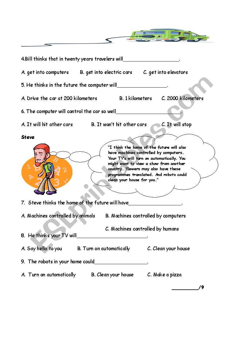Reading Quiz part 2: Life in the Future - ESL worksheet by