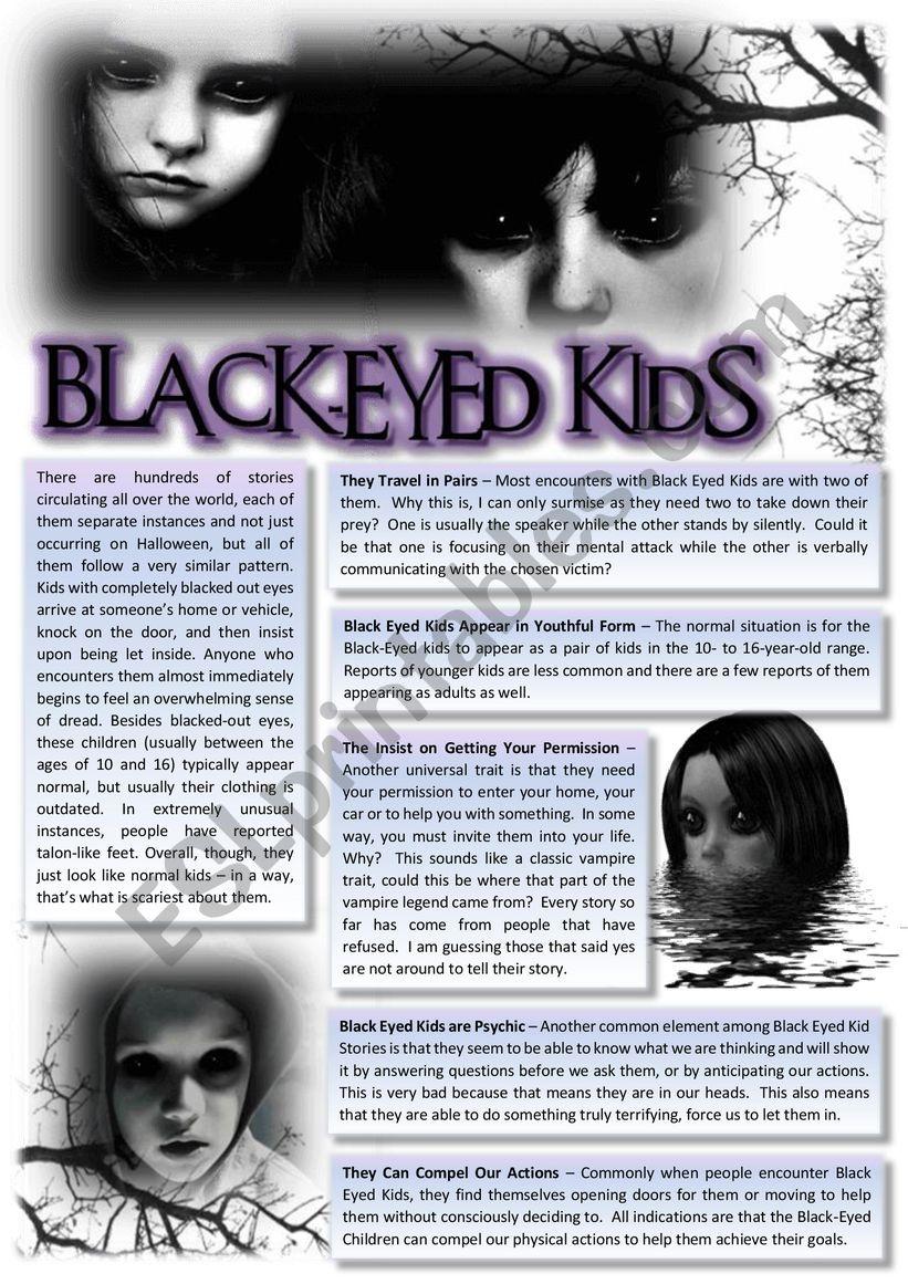 The BEK (Black-Eyed Kids) reading & comprehension with exercises. KEY included.