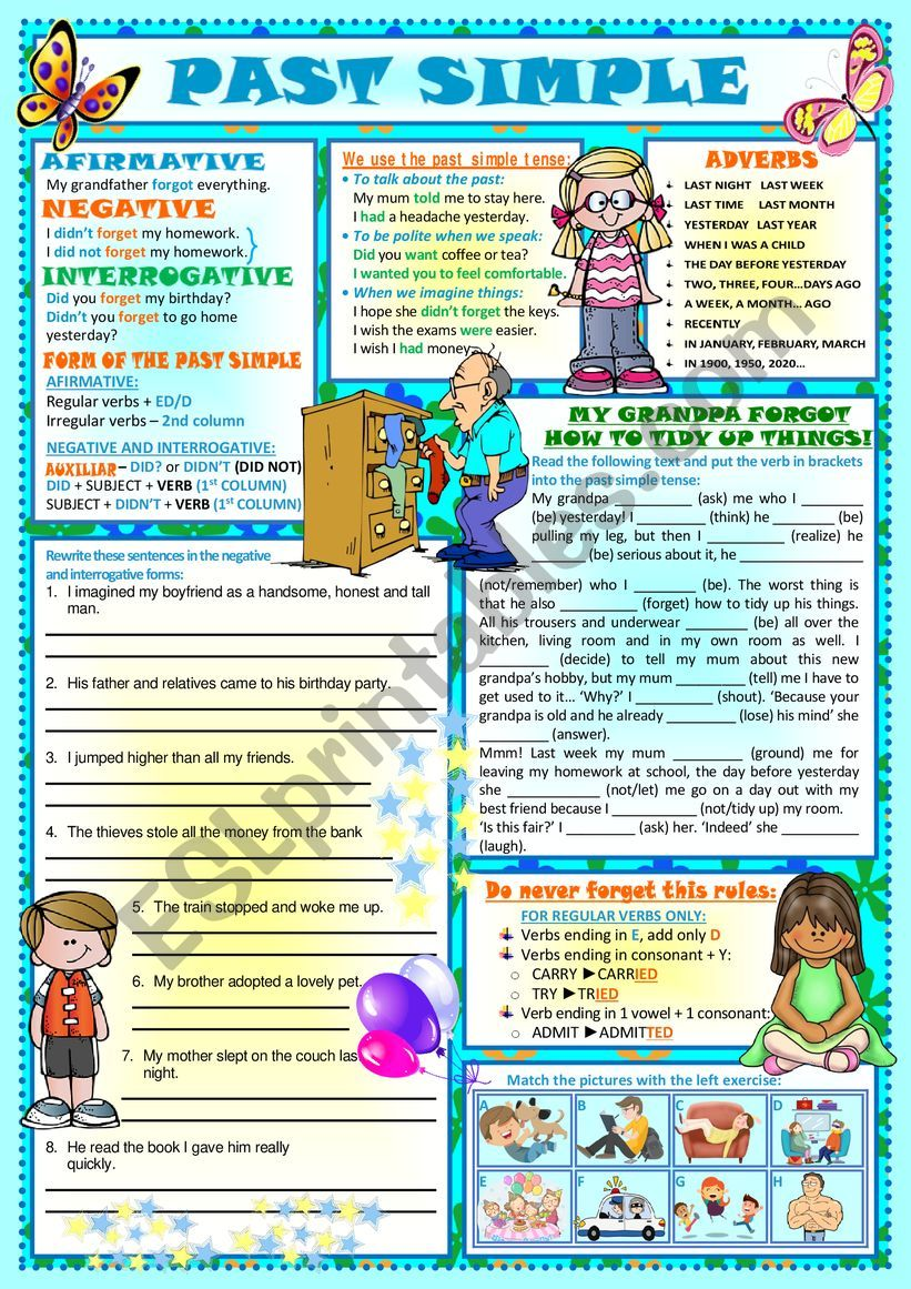 THE PAST SIMPLE TENSE with EXERCISES
