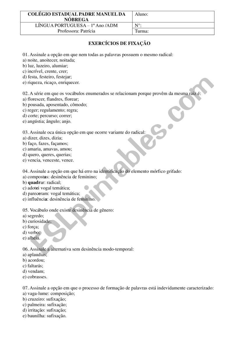 port worksheet