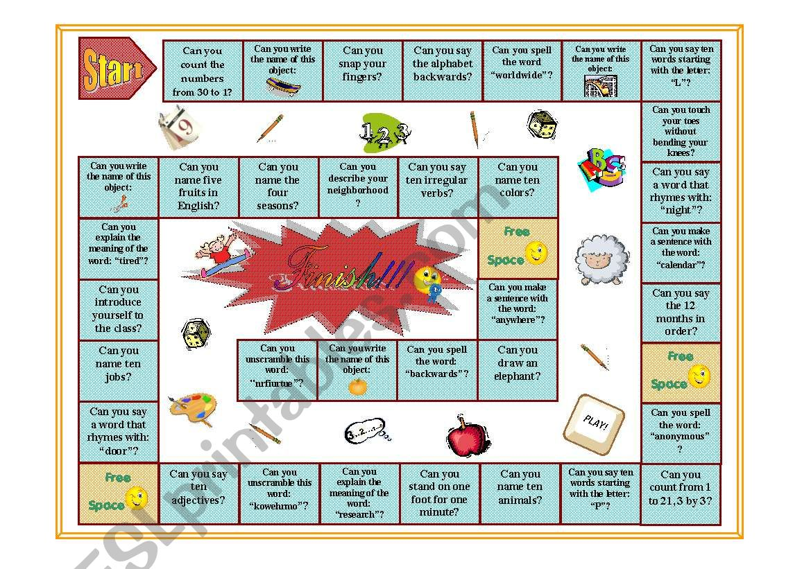 Can you... Boardgame (Color) - ESL worksheet by PurpleFlower