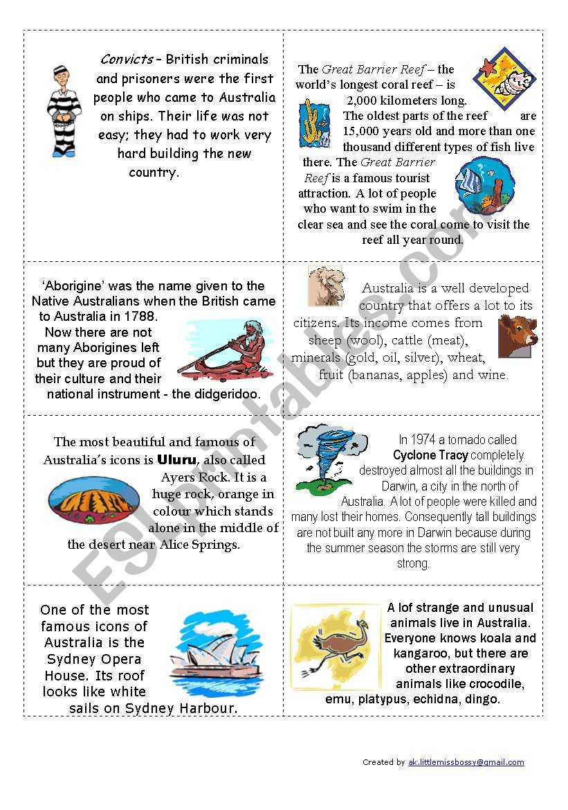 Down Under - Australia Quiz - Worksheet B2 - ESL worksheet by songbird