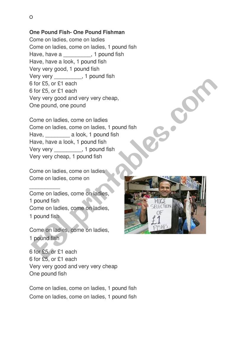 one pound fish x-factor song worksheet